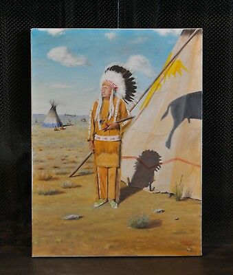 Vintage Painting Native American Plains Indian Chief Pipe Teepee - S. P. Nava-Ha