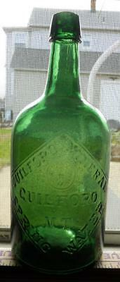 Quart Green Guilford VT Vermont Mineral Spring Water Bottle Sparkling & Flawless
