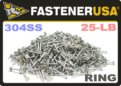 "2"" x 10-GAUGE 6D RING 304 STAINLESS ROOFING NAILS 25lb"
