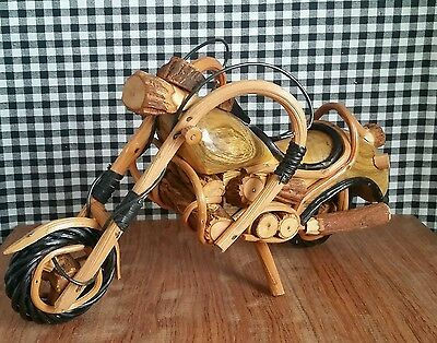 Decorative Motorcycle Carving, Wood & Vine Sculpture, Collectible Bike Handmade