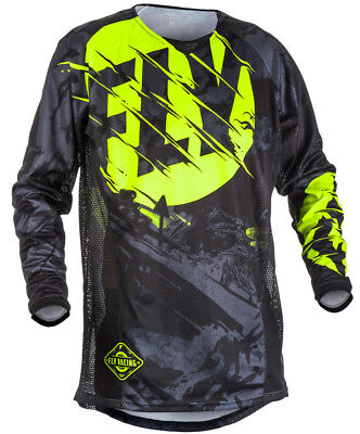 Fly Racing Kinetic Outlaw Mens MX Offroad Jersey Black/Hi-Vis