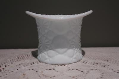 Vintage Fenton Daisy & Button Top Hat Vase - Large - Milk Glass  - Vg Cond