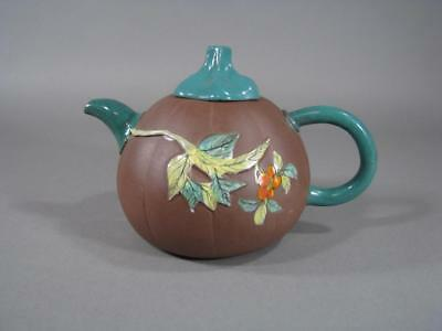 Nice Antique Chinese Enamel Decorated Pumpkin Form Teapot