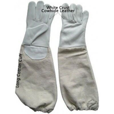 Childrens Large Beekeeping Gloves Kids Beekeepers Bee Gloves 100% White Leather