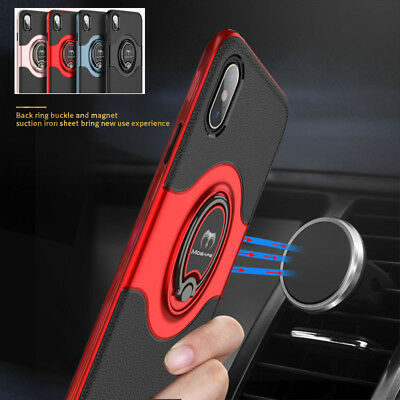 For iPhone XS Max XR XS X Ring Magnetic Shockproof Hybrid TPU Bumper Case Cover