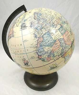 "Rand McNally 12""Inch World Desk Globe Terrestrial Vintage 1980 Raised Topography"
