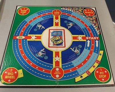VTG 1974 IDEAL TOYS EVEL KNIEVEL STUNT BOARD GAME - display motorcycle HTF part