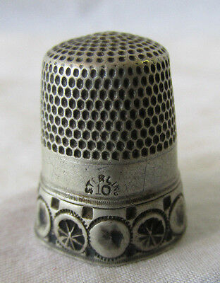 Antique Sterling Silver Thimble by SIMONS Brothers Wheel Ornate #10 Hallmarked