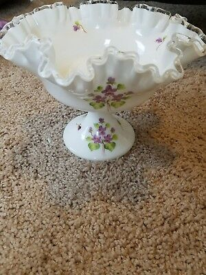 Fenton Vintage Milk Glass Clear Spanish Ruffles Pedestal Dish Hand-Painted