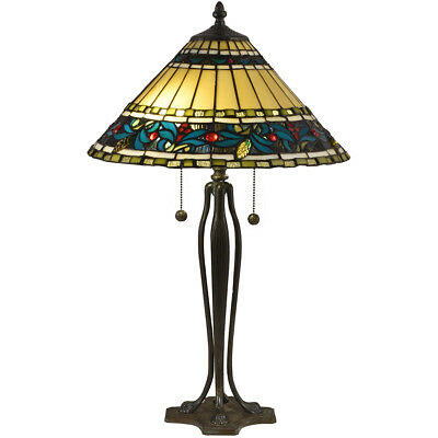 Dale Tiffany TT18190 Jeweled Leaves Table Lamp Antique Bronze Verde