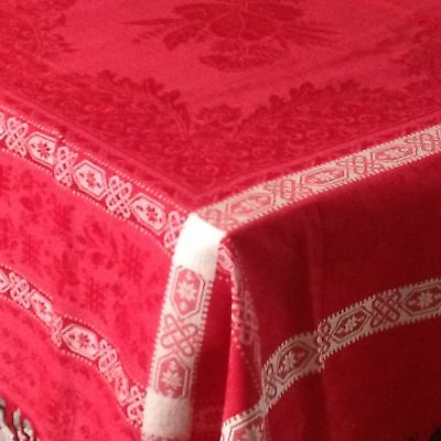 """TURKEY RED DAMASK Antique TABLECLOTH  Victorian  62"""" X 78"""" Fringed Holidays"""