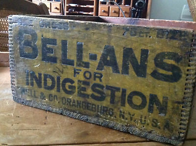 BELL-ANS PILLS for Indigestion Antique Wood Crate/Box  Orangeburg NY Apothecary