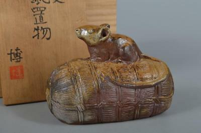R3166:Japanese Bizen-ware Youhen pattern Mouse & Bale STATUE sculpture Ornament