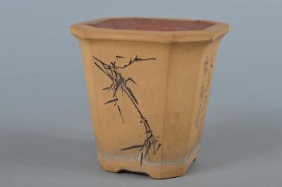 R3734: Chinese Brown pottery Bamboo Flower Poetry sculpture Ueki BOWL Pot