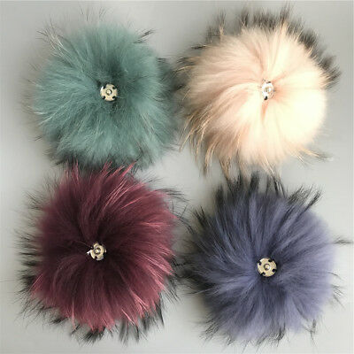 2018 new-- Real Raccoon Fur Fluffy Pom Pom Ball Snap Button DIy Hat Accessories