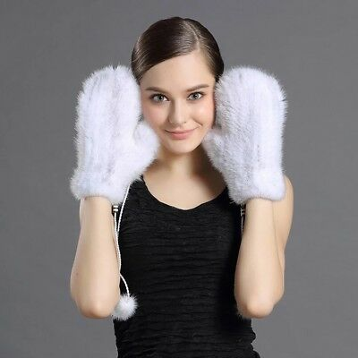 Double Side Real Mink Fur Winter Gloves Knitted Elastic Warm Mittens w string