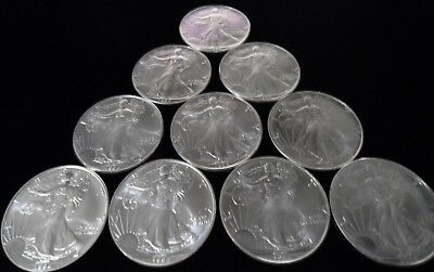 Half Roll of 10 - 1994 American Silver Eagle .999 Pure One Ounce. Tube Lot BU MS
