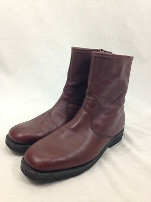 VTG Dexter Leather Sherpa Lined Boots Floaters Mens 9 W Side Zip Red Oxblood USA