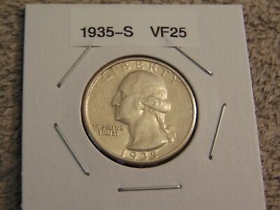1935 S Silver Washington Quarter VF