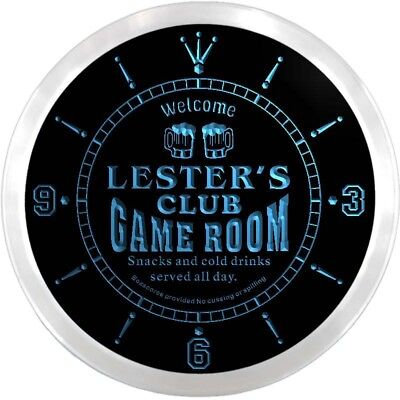 ncx0193-tm Lester's Players Club Game Room Custom Name Neon Sign Clock