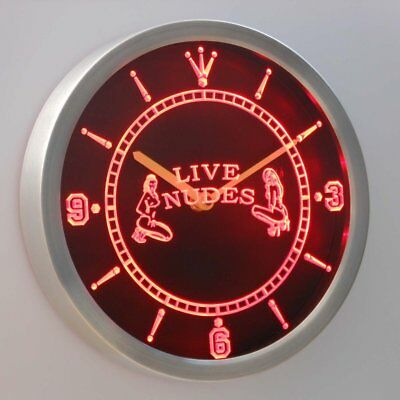 nc0255-r OPEN Live Nude Exotic Dancer Bar Beer Neon Sign LED Wall Clock