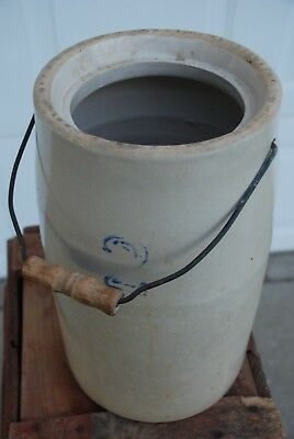"2 Gallon 12.5"" Tall Stoneware Crock W/ Wood/wire Handle"