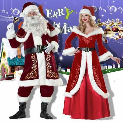 Christmas Santa Claus Suit Mens Womens Xmas Fancy Costume Party Outfit Dress