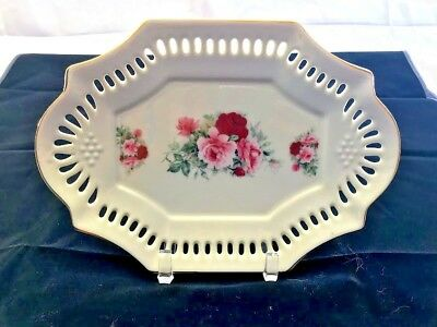 Vintage Formalities by Baum Bros. Small Cream Tray W/ Roses & Laced Border