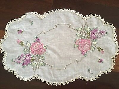 Pretty vintage linen hand embroidered Pink Roses Lilacs Centrepiece Doily Exc