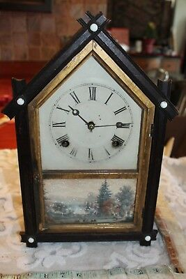 antique clock wall civil war era painting primitive 1865 gilt wood wooden 19c