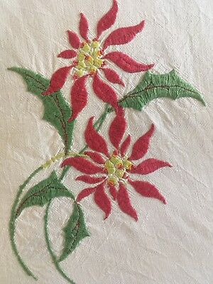 Stunning vintage linen hand embroidered Christmas Poinsettia Tablecloth Craft