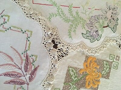 3 Pretty Floral Vintage Linen Hand Embroidered Lacy Large Doilies Craft or Use