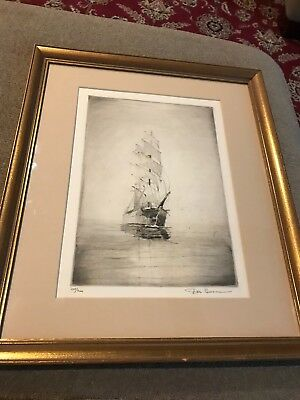 Pencil Signed DON SWANN Boat Sails Etching Limited Edition 188/300 Signed (NS)