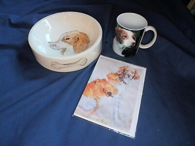 LOT of 3 BRITTANY dog Spaniel MUG CUP GIFT + CARD/Print + Hand Painted Bowl