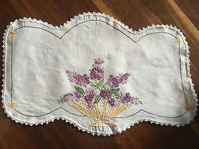 Pretty vintage linen hand embroidered basket of lilacs Centrepiece Doily Exc
