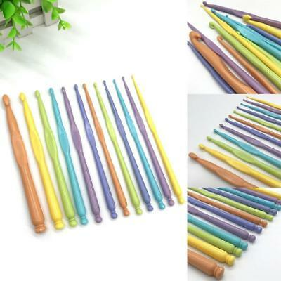 12 Pcs 2mm-10mm Multicolor Plastic Crochet Hooks Kit Knitting Needles