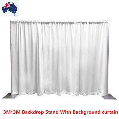 Portable Pipe and Drape Backdrop Stand Kit With White Curtain for Wedding Party