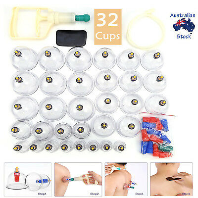 32 Cups Vacuum Cupping Set Pain Relief Massage Acupuncture Kit Suction Massager