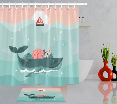 Abstract Cartoon Ocean Waves Whale Corals Polyester Fabric Shower Curtain Set