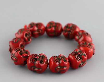 Collectable China Red Coral Carving 2 Face Buddha Head Auspicious Girl Bracelet