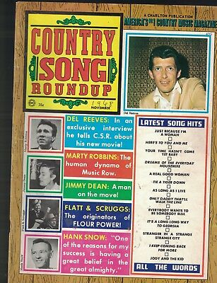 Country Song Roundup November 1968 Del Reeves Jimmy Dean Hank Snow