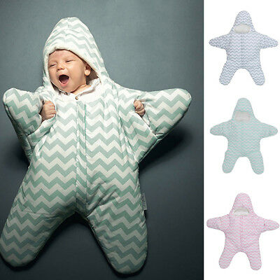 QA_ Baby Sleeping Bag Starfish Winter Newborn Pram Bed Swaddle Blanket Wrap Ne