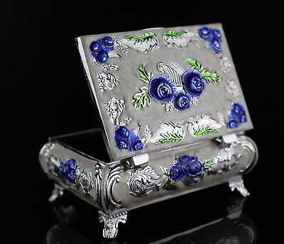 China Culture Cloisonne Hand Carve Blooming Flower Delicate Noble Lady Jewel Box