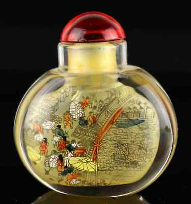 Glass Interior Painting Chinese Ancient Bazaar Scene Collectable Snuff Bottle