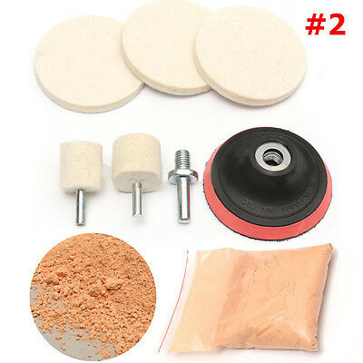 Cerium Oxide Powder+8in1 Car Windscreen Scratch Remover Glass 3'' Polishing Kit
