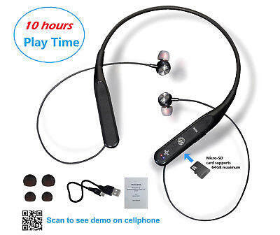 Bluetooth Wireless Neckband Magnetic Earphones 10 hours play, TF card read