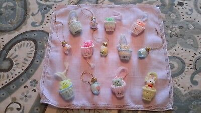 Lot Of 13 Miniature Feather Tree Pastel Easter Ornaments