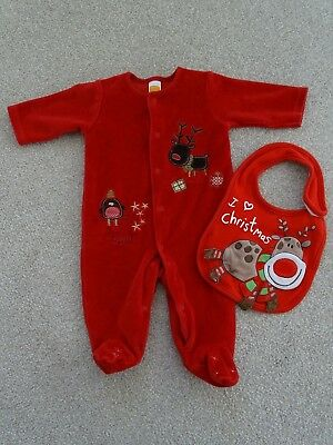 Newborn Christmas Velour Sleepsuit from Mini Mode (Weight up to 9.9lbs)