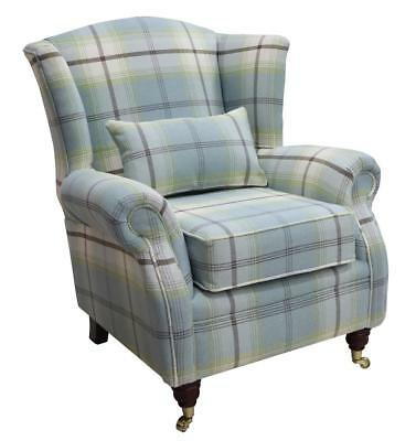 Ashley Wing Chair Fireside High Back Armchair Balmoral Duck Egg Blue Check PS