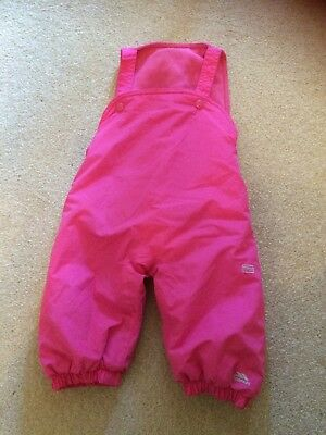 Girls Pink Waterproof Salopettes / Dungarees rain trousers 6-12 Months